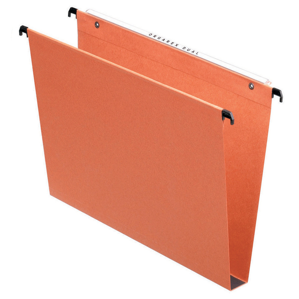 Esselte Orgarex Linking Suspension File Recycled 30mm Wide 220gsm Foolscap Orange Ref 10403 Pack 50