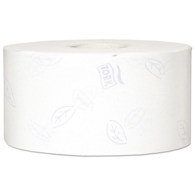 Toilet tissue Tork Premium Mini Jumbo Toilet Roll 2-ply Embossed 94x200mm 850 Sheets White Ref 110254 [Pack 12]
