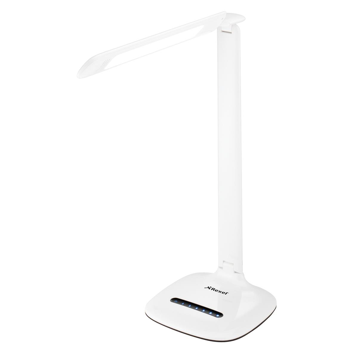Image for Rexel ActiVita Daylight Strip Desk Lamp 6 Brightness Settings Fully Adjustable Head White Ref 4402013