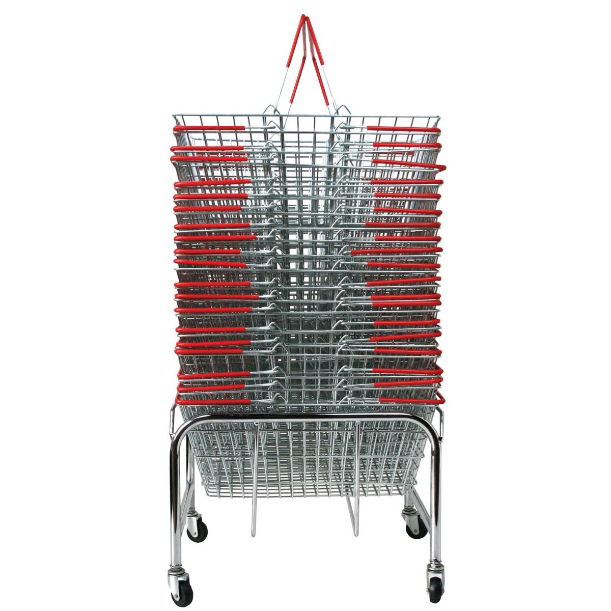 Merchandise baskets Red Wire Baskets Capacity 21 Litres x20 Plus Mobile Storage Plinth