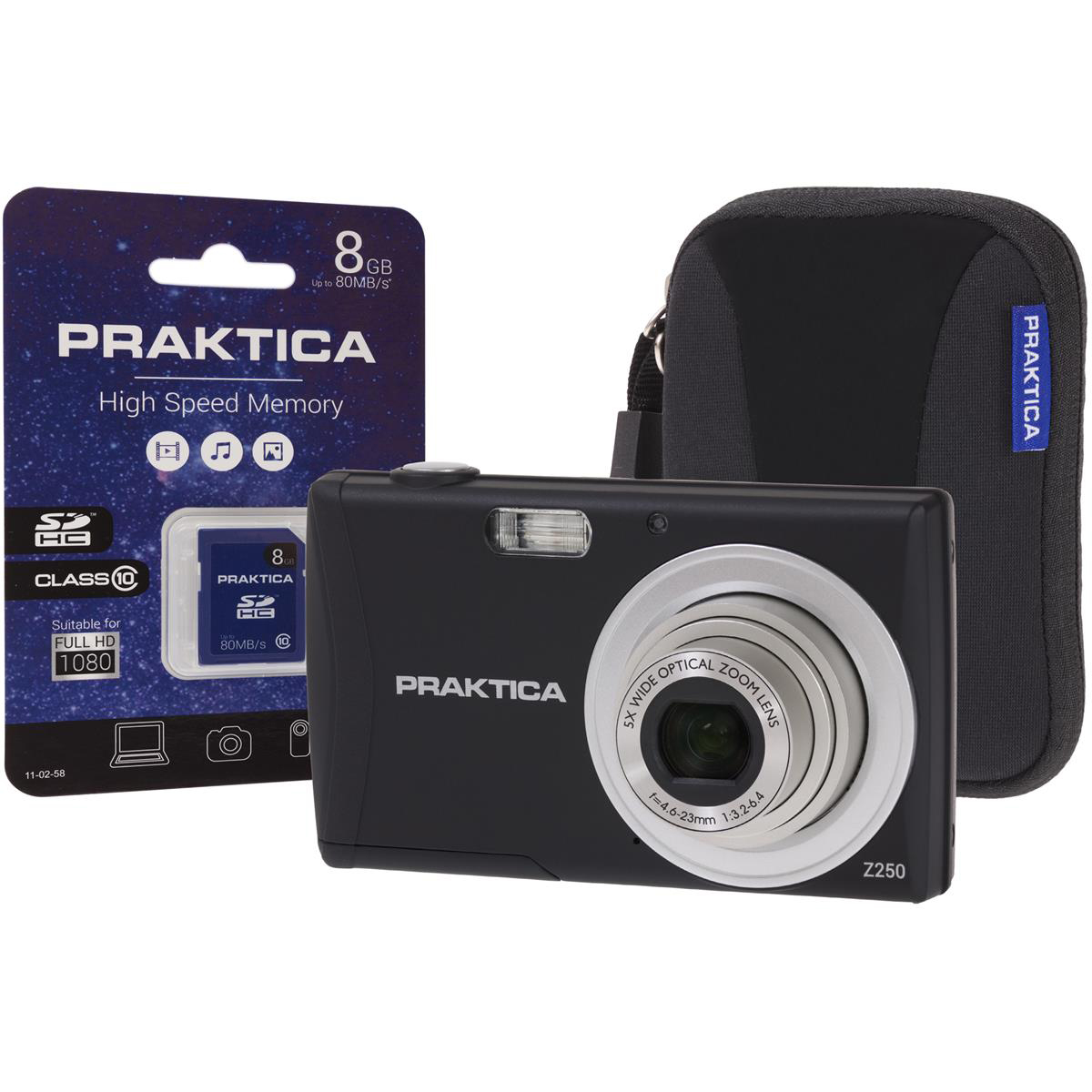 Praktica Z250 Digital Camera Kit 20MP HD Video 5x Optical Zoom Case and 8GB SD card Black Ref PRA111