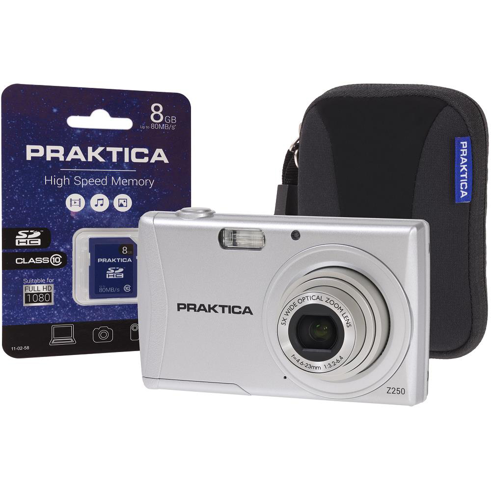 Praktica Z250 Digital Camera Kit 20MP HD Video 5x Optical Zoom Case and 8GB SD card Silver Ref PRA111