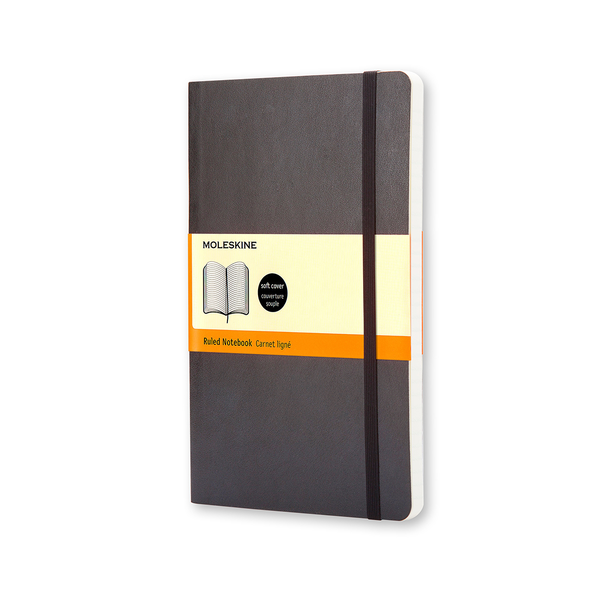 Paper pads or notebooks Moleskine Large Ruled Soft Cover 240Pg 130x210mm Black Ref QP616