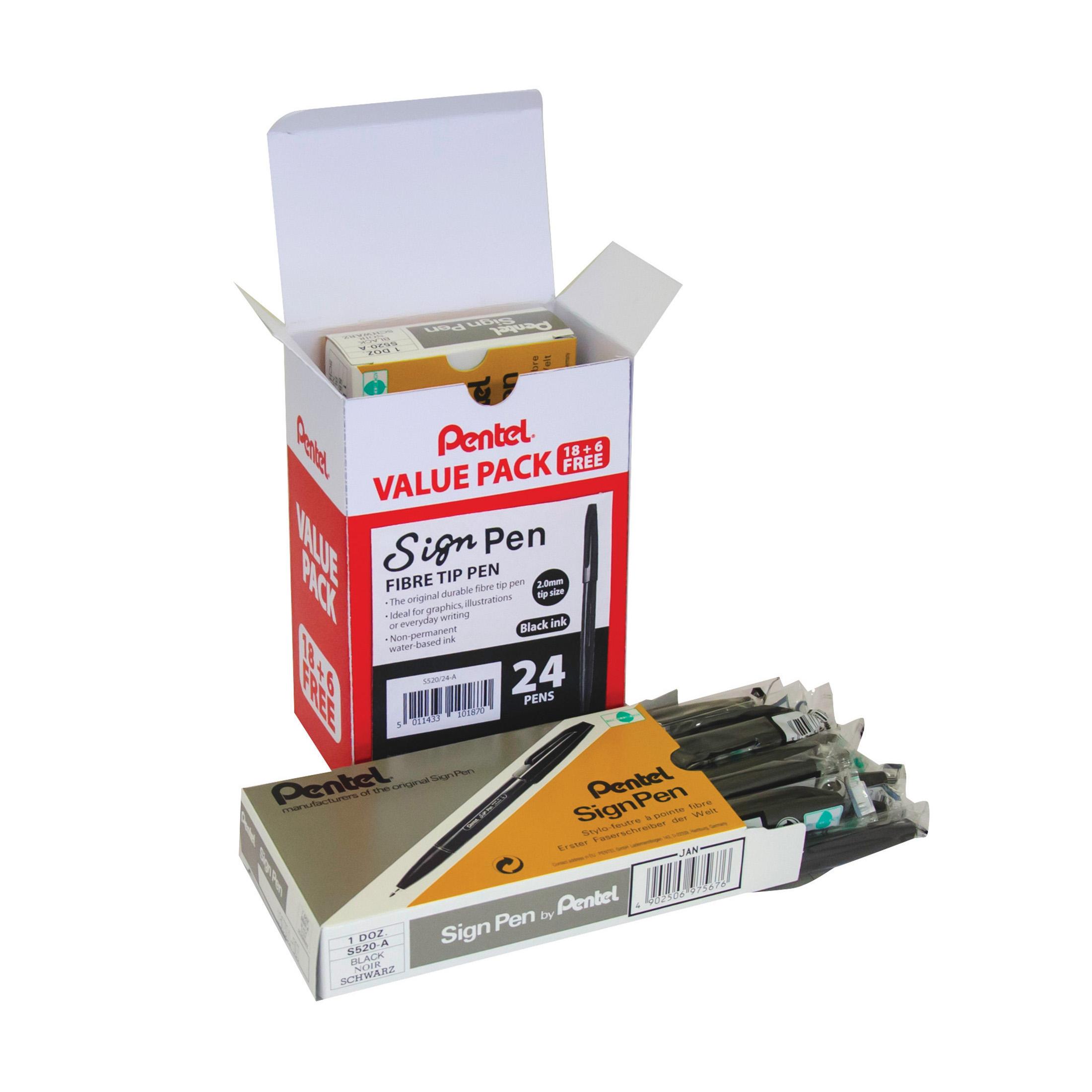 Markers Pentel Sign Pen 2.0mm Tip Value Pack Black Ref S520/24-A Pack 24