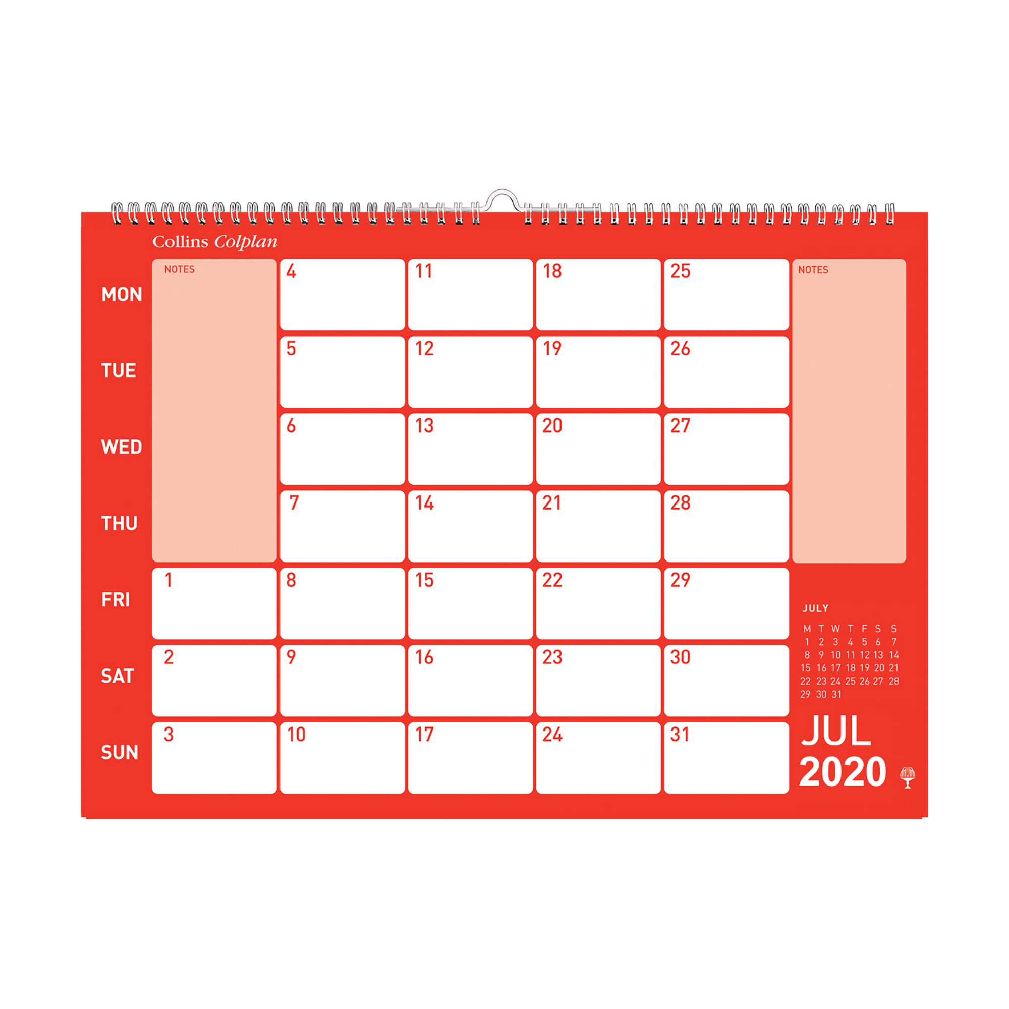 Collins Colplan 2020 Colplan Memo Calendar Month to View Landscape 297x420mm Assorted Ref CMC 2020
