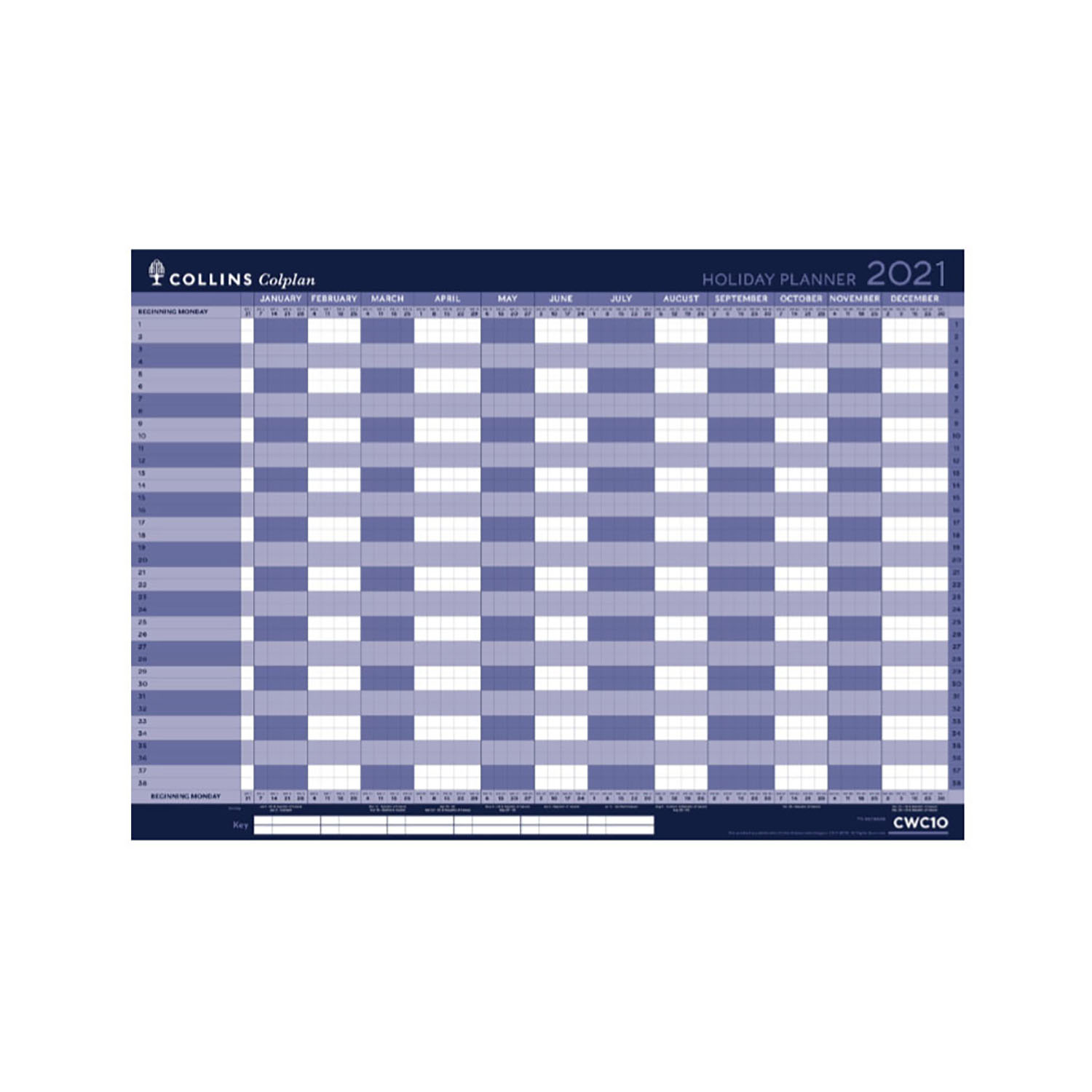 Planners Collins Colplan 2021 Holiday Wall Planner Unmounted Landscape A1 594x840mm Blue Ref CWC10 2021