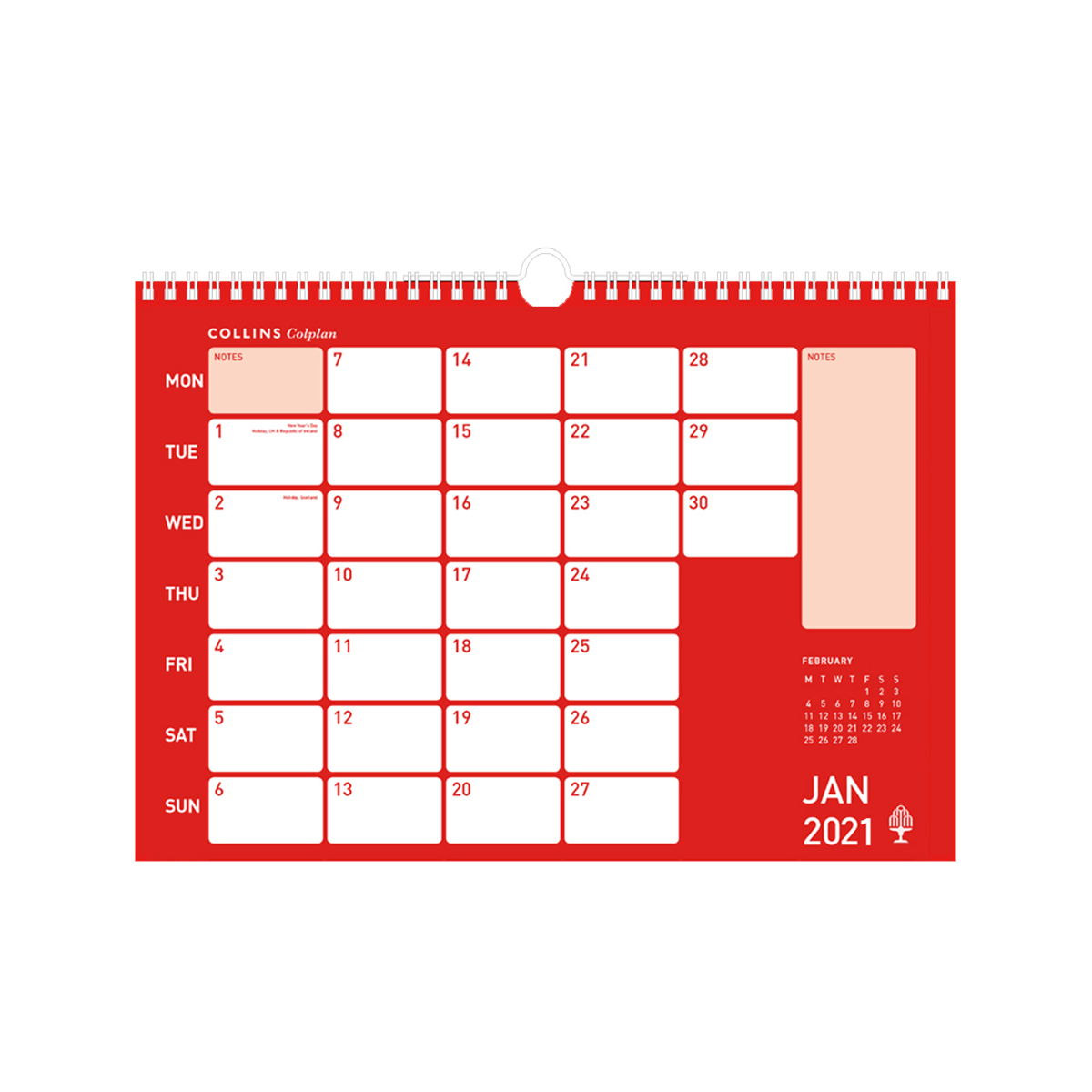 Planners Collins Colplan 2021 Colplan Memo Calendar Month to View Landscape 297x420mm Assorted Ref CMC 2021