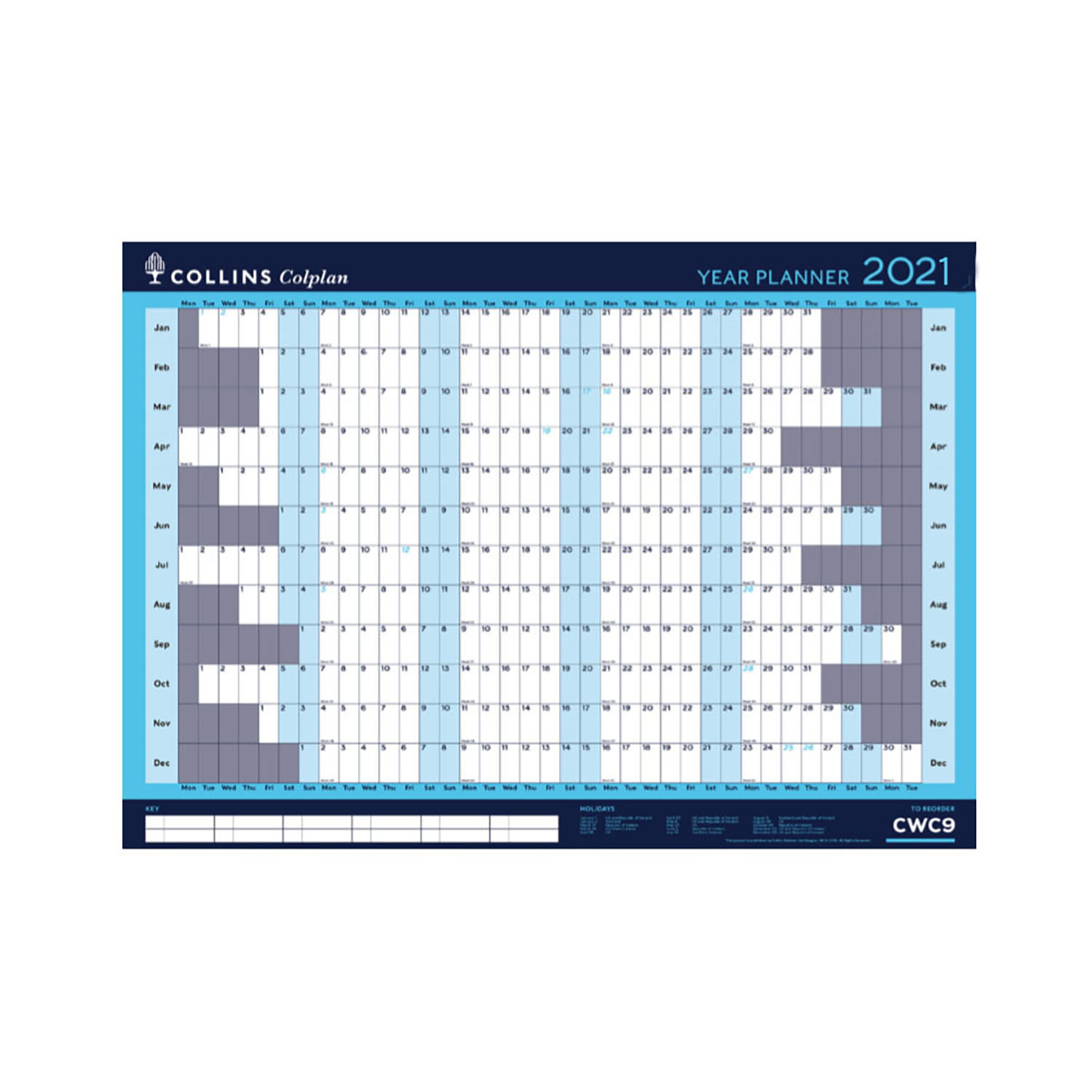 Planners Collins Colplan 2021 Year Wall Planner Landscape Unmounted A1 594x840mm Blue Ref CWC9 2021