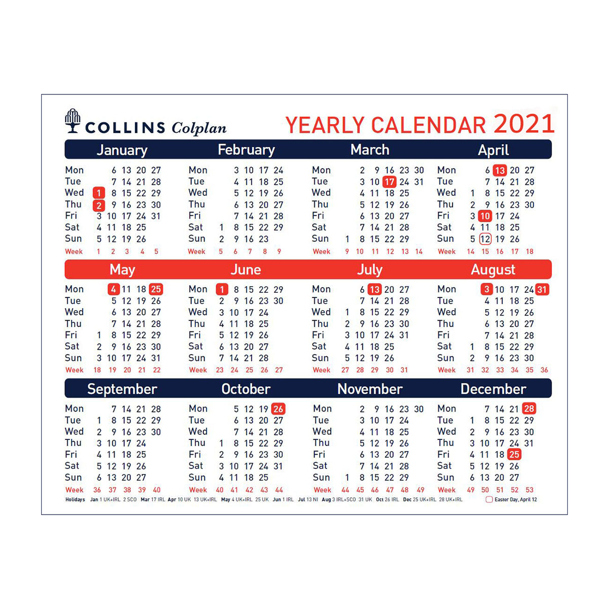 Calendars Collins 2021 Yearly Calendar for Wall or Desktop Landscape 210x260mm White Ref CDS1 2021