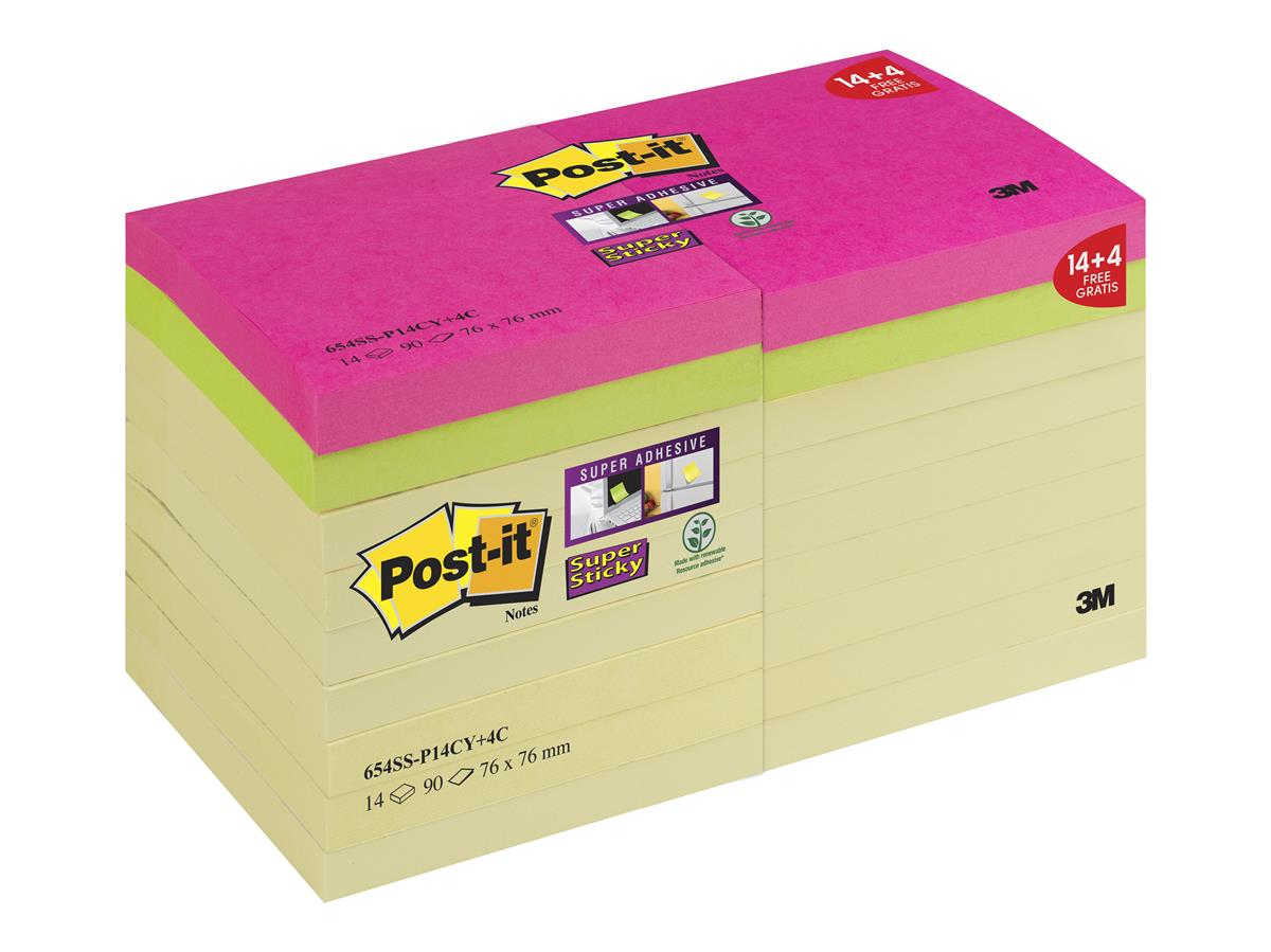 Post-it Super Sticky 76x76 90 Sheets Yellow Ref 654SS-P14CY [Pack 14 + 4 Colour Pads]