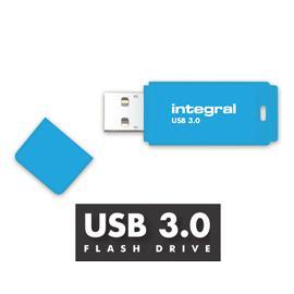 Integral Neon USB 3.0 Flash Drive 128GB Blue Ref INFD128GBNEONB3.0