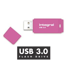 Integral Neon USB 3.0 Drive 128GB Pink Ref INFD128GBNEONPK3.0