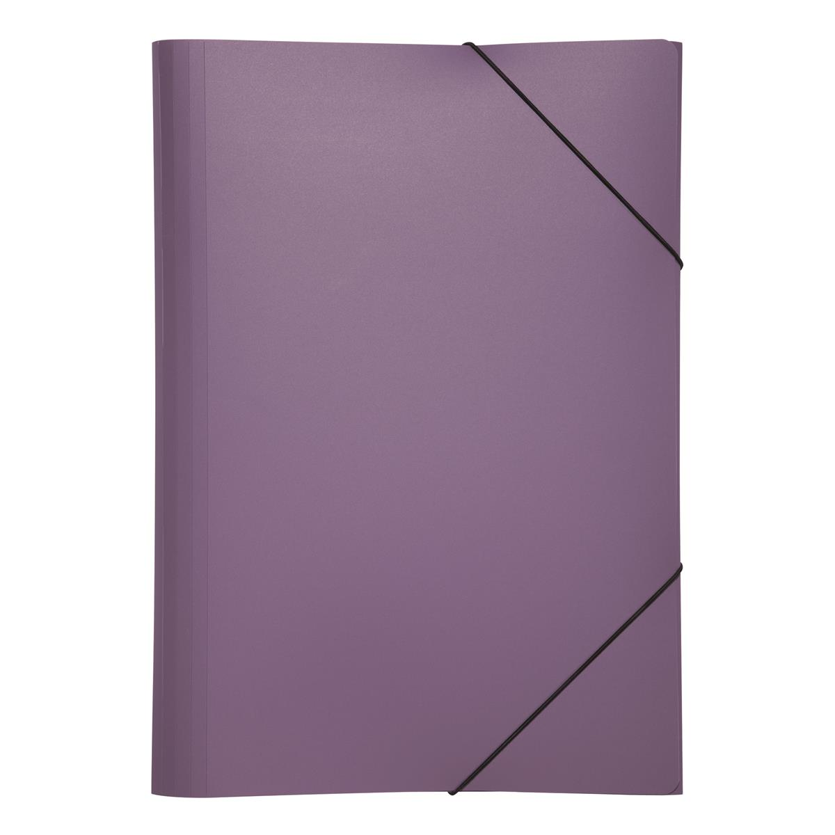 Pagna PP Folder Elasticated Straps Three Internal Flaps A4 Purple Ref 2161312 [Pack 10]