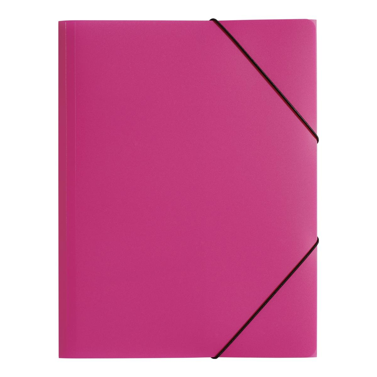 Pagna PP Folder Elasticated Straps Three Internal Flaps A4 Pink Ref 2161334 [Pack 10]