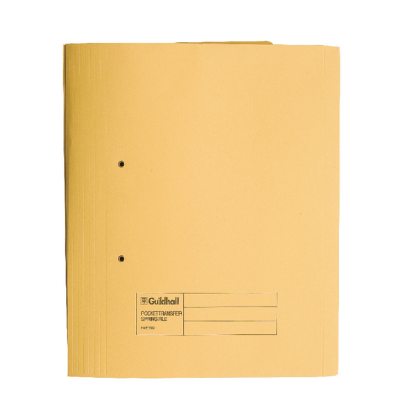 Guildhall Transfer Spring File 420gsm Pocket Foolscap Yellow Ref 211/6003Z [Pack 25]