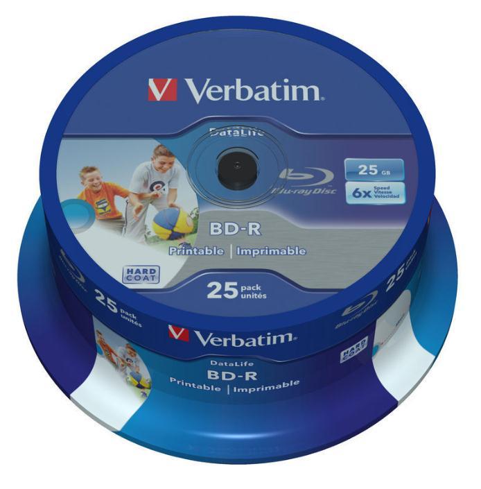 Verbatim BD-R Recordable Blu-Ray Discs Inkjet Printable 25GB Ref 43811 [Pack 25]