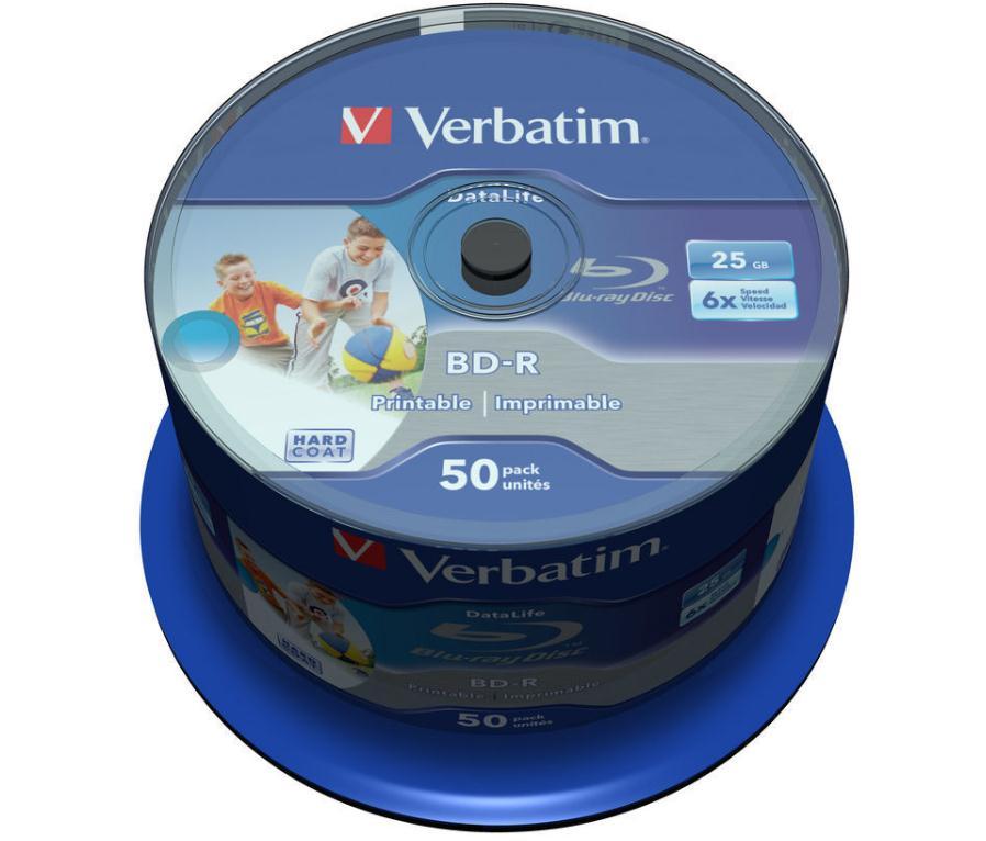 Verbatim BD-R Recordable Blu-Ray Discs Inkjet Printable 25GB Ref 43812 [Pack 50]