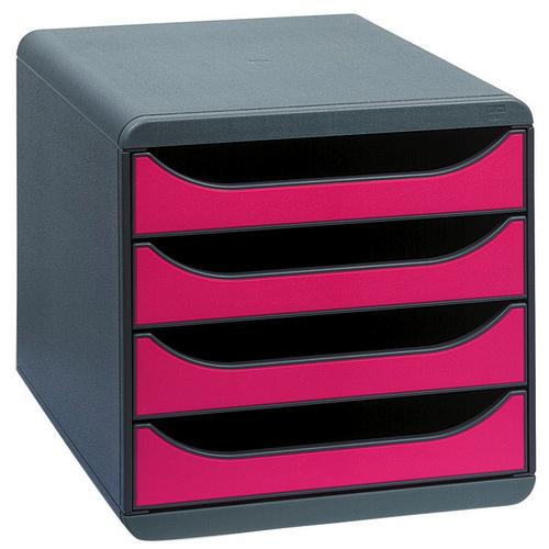 Exacompta Big Box Drawer Set 4-Drawers with Stops A4 Plus W278xD347xH267mm Grey/Raspberry Ref 310784D