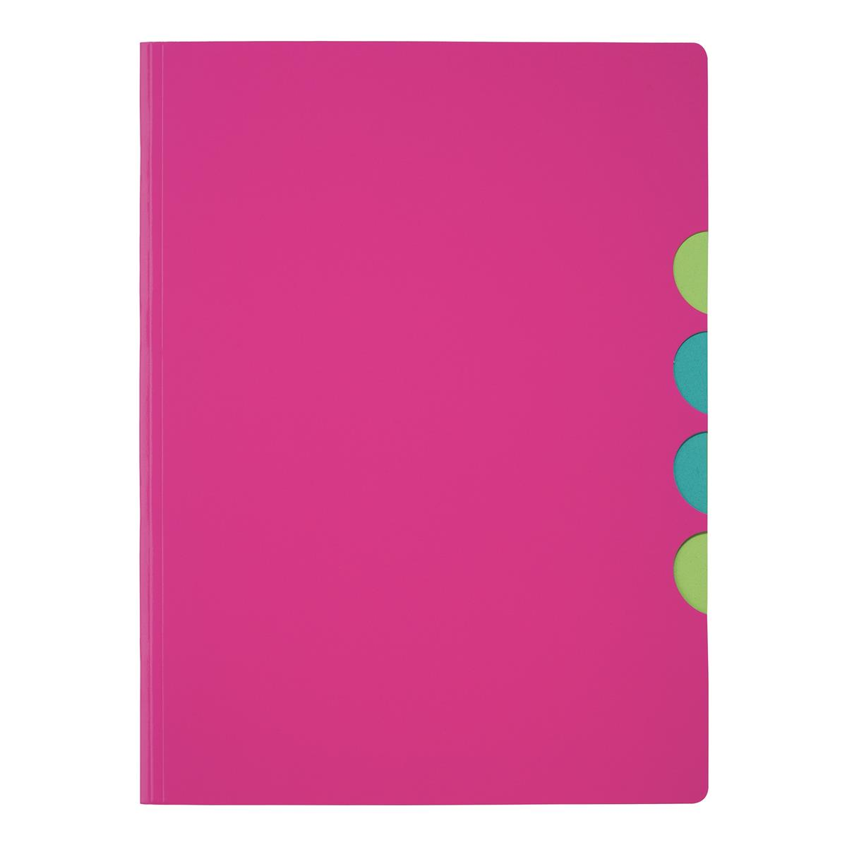 Pagna Millenials Part File with Five Coloured Compartments A4 Pink Ref 4180534 [Pack 5]