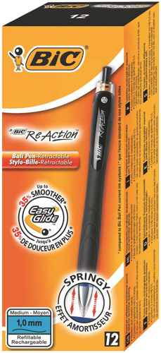 Bic ReAction Ball Pen Retractable Long Grip 1.0mm Reactive Tip 0.4mm Line Black Ref 8575461 [Pack 12]