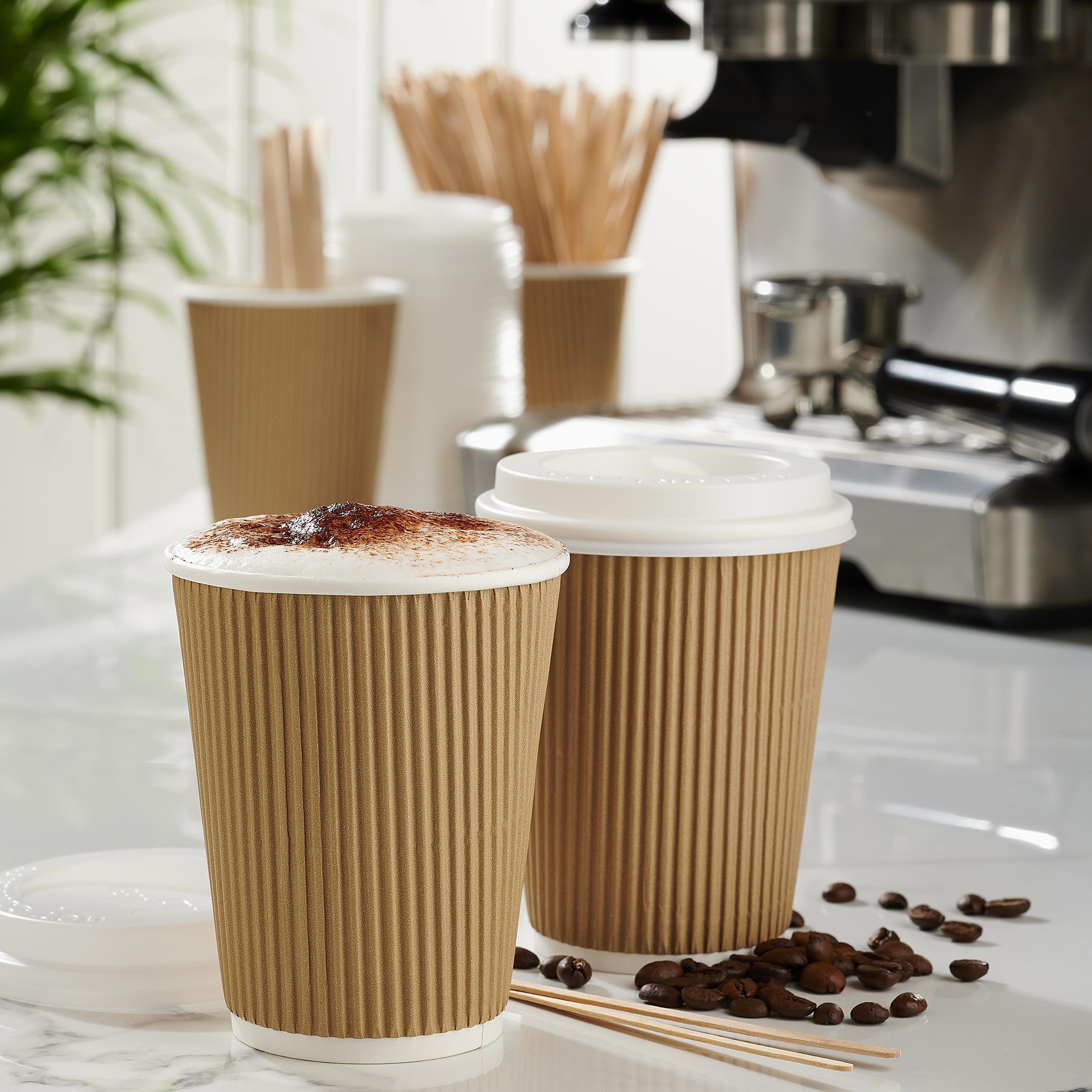 Ripple Paper Cups Triple Walled PE Lining 16oz 450ml Varied Design Ref RY00751 [Pack 25]