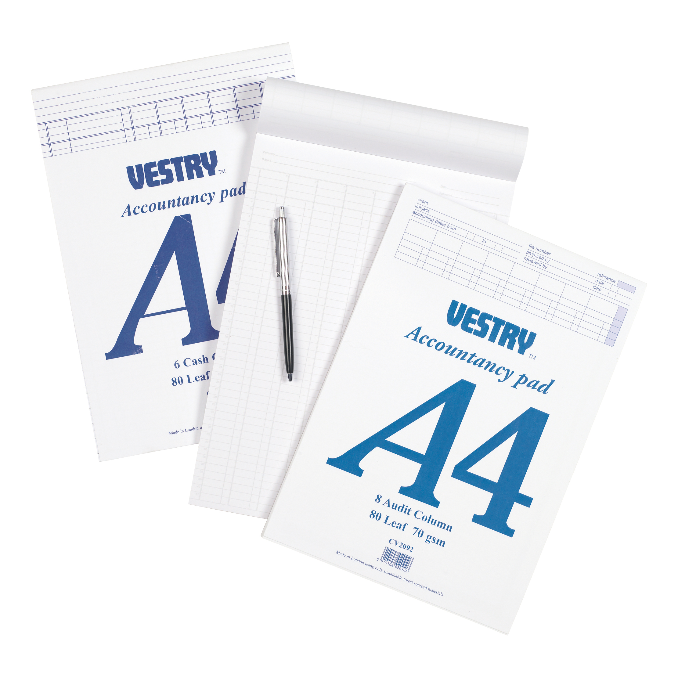 Vestry Accountants Pad 8 Cash Column 80 Leaf A4 Ref CV2064