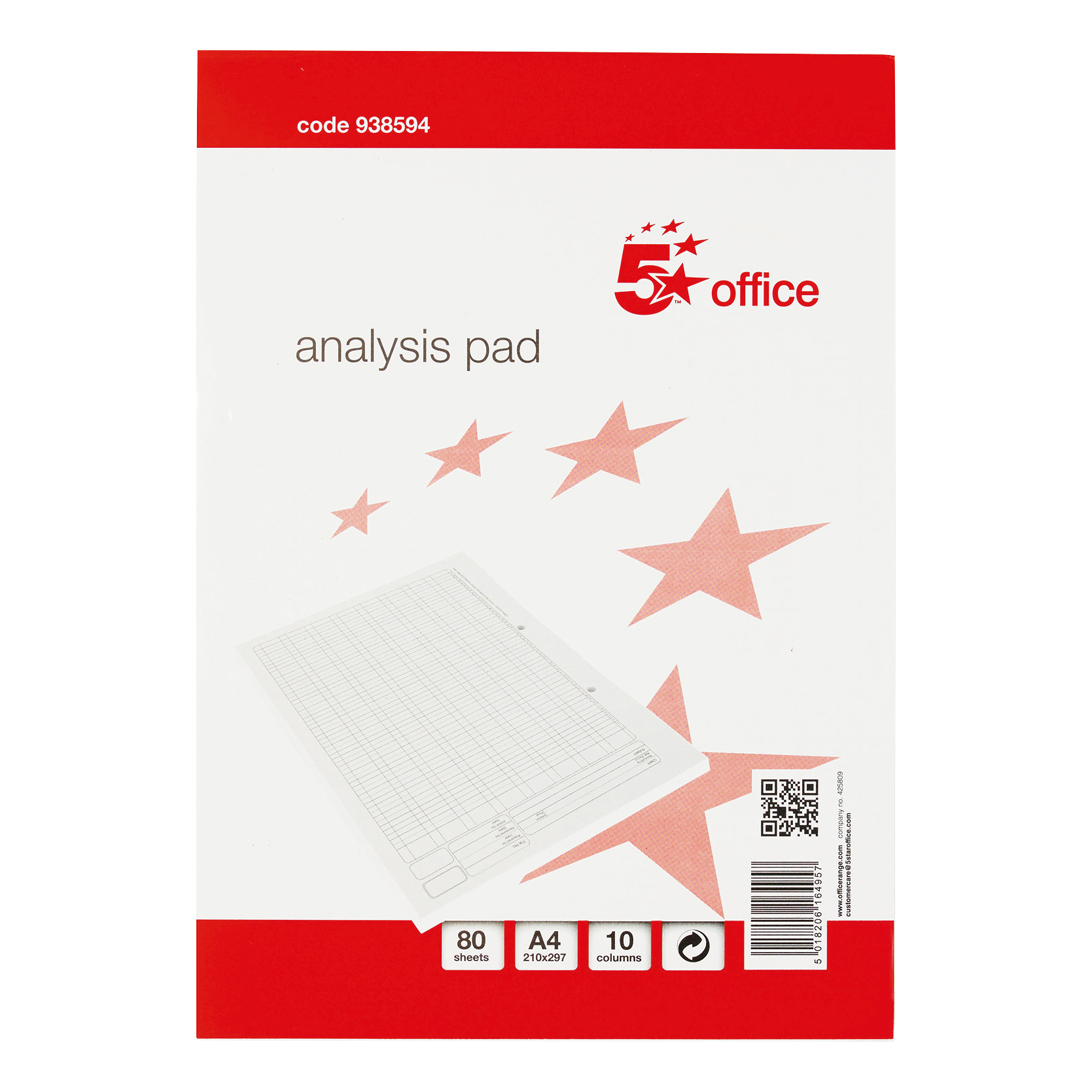 5 Star Office Analysis Pad 10 Cash Column 53 Weeks A4 White