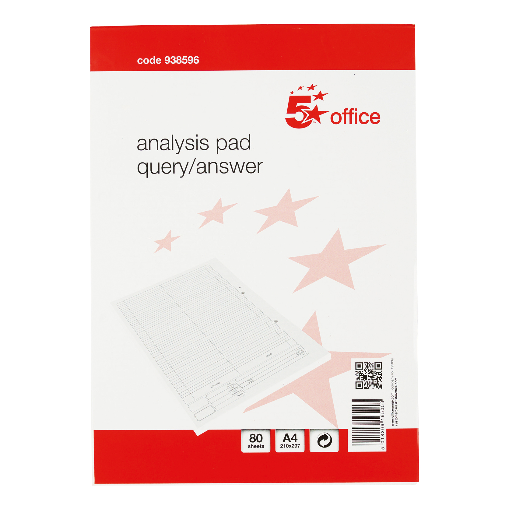 Image for 5 Star Office Analysis Pad Query/Answer 53 Weeks A4 White