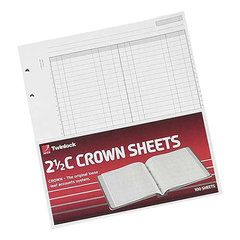 Ledger paper Twinlock 2.5C Crown Double Ledger Sheets 254x228mm Ref 75831 Pack 100