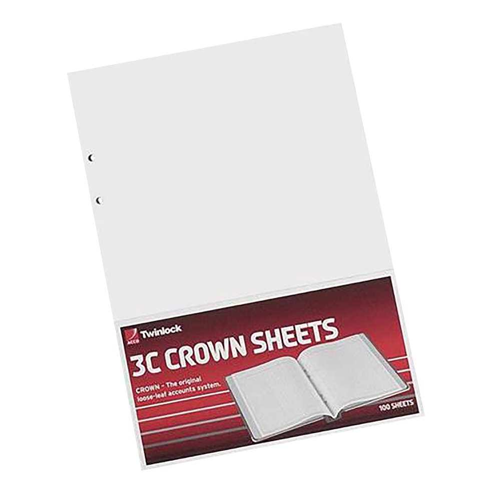 Ledger paper Twinlock 3C Crown Plain Sheets 322x228mm Ref 75840 Pack 100