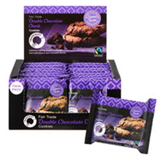 Traidcraft Cookies Double Choc Fairtrade 2 per Minipack Ref A07822 Pack 16