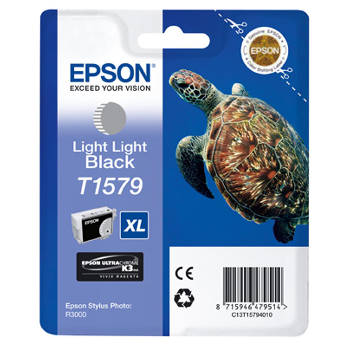 Epson T1579 Inkjet Cartridge Turtle 25.9ml Light Light Black Ref C13T15794010