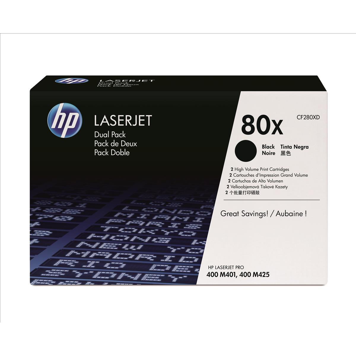 HP 80X Laser Toner Cartridge High Yield Page Life 6900pp Black Ref CF280XD [Pack 2]