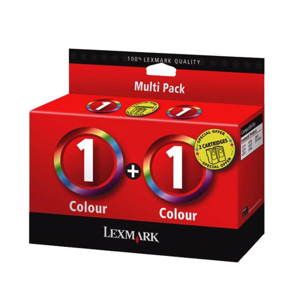 Lexmark No 1 Inkjet Cartridge 2x26ml Tri-Colour Ref 0080D2955 [Pack 2]