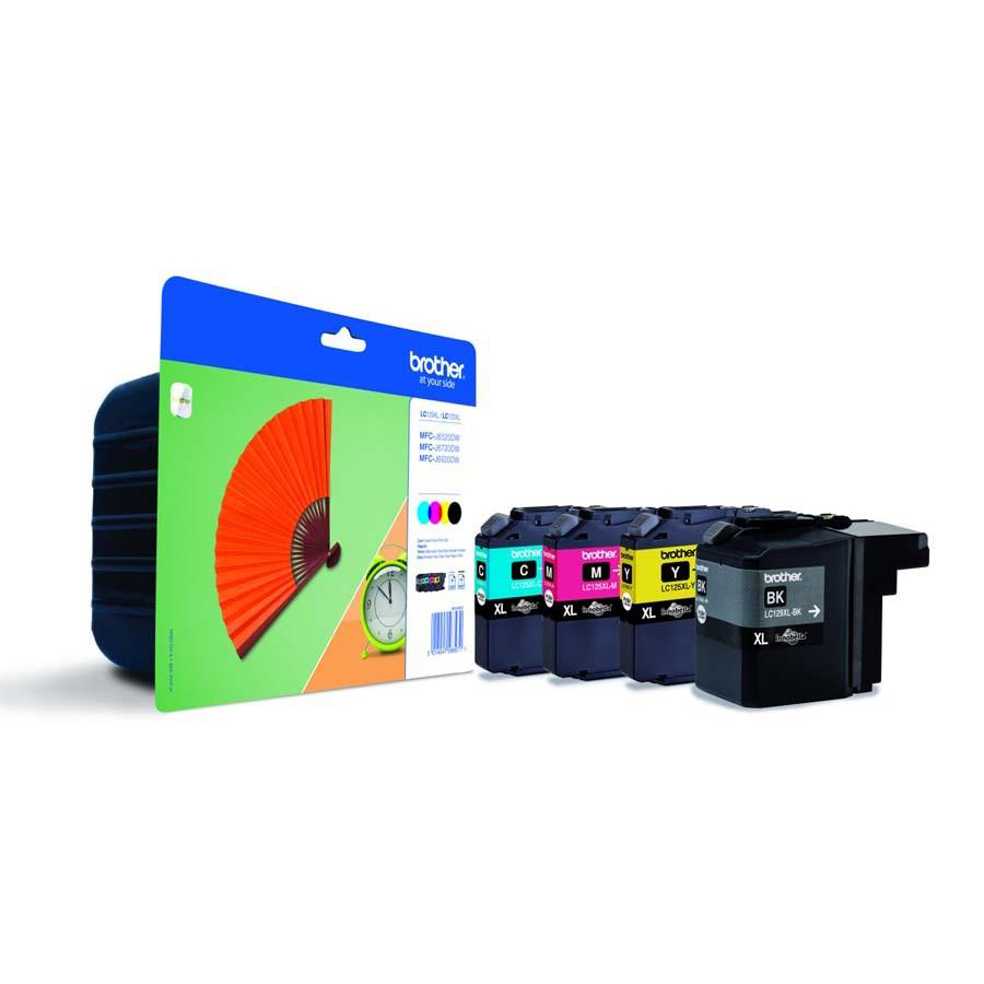 Brother Inkjet Cart Val PK HY Page Life 2400pp Black 1200pp Cyan/Magenta /YellowRef LC129XLVALBP [Pack 4]
