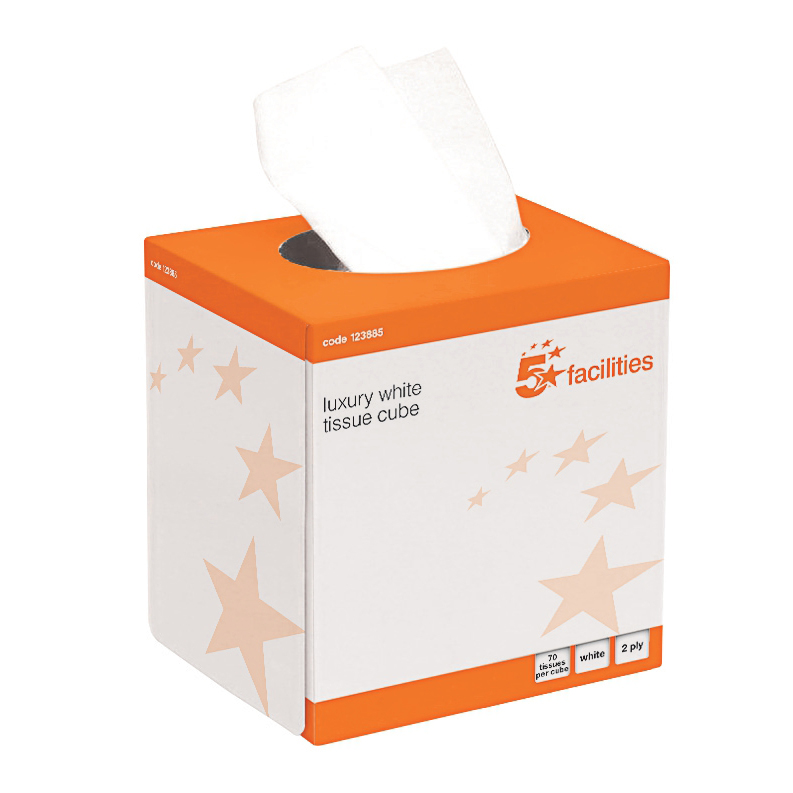 Facial Tissues 5 Star Facilities Luxury Facial Tissues Cube 2 Ply 70 Sheets White Pack 24
