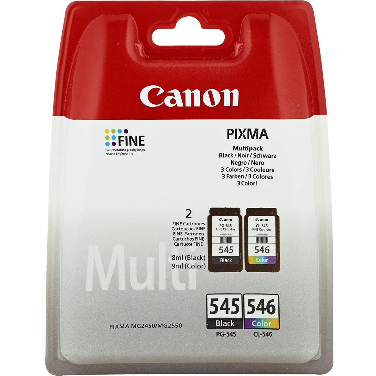 Canon PG545 & CL546 Inkjet Cartridge Page Life 180pp Black & Colour Ref 8287B005 [Pack 2]