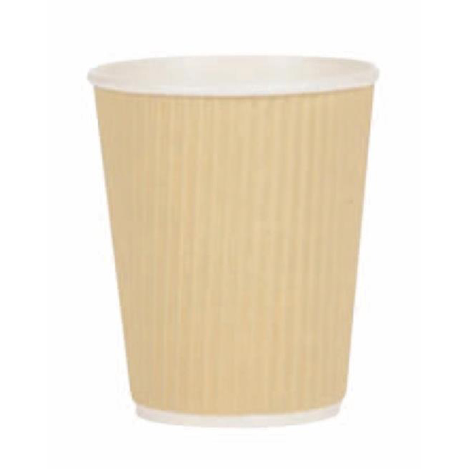 Paper Cup Ripple Wall PE Lining 12oz 340ml Corrugated Case Brown Kraft Pack 500