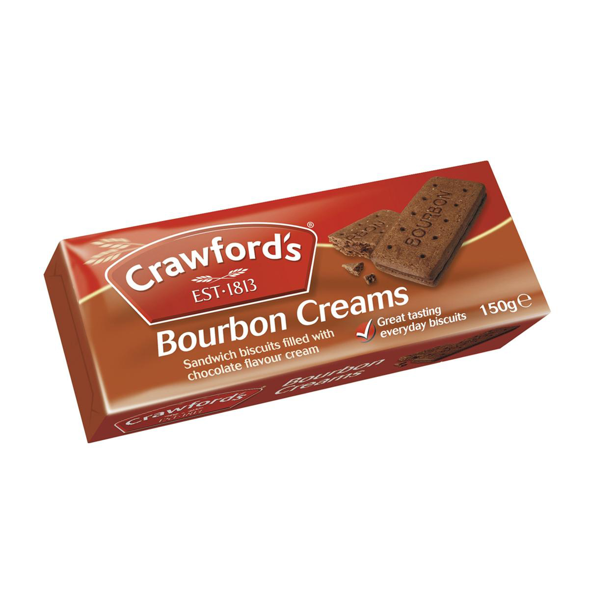 Crawfords Bourbon Biscuits 150g Pack 12 Ref UTB021
