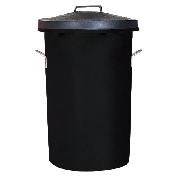 Rubbish Bins Dustbin Heavy Duty 85 Litres Black