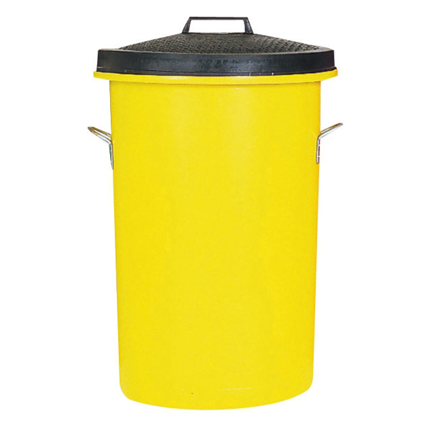 Rubbish Bins Dustbin Heavy Duty 85 Litres Yellow