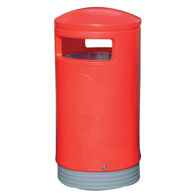 Rubbish Bins Outdoor Hooded Top Bin 110 Litres Easy Clean Red