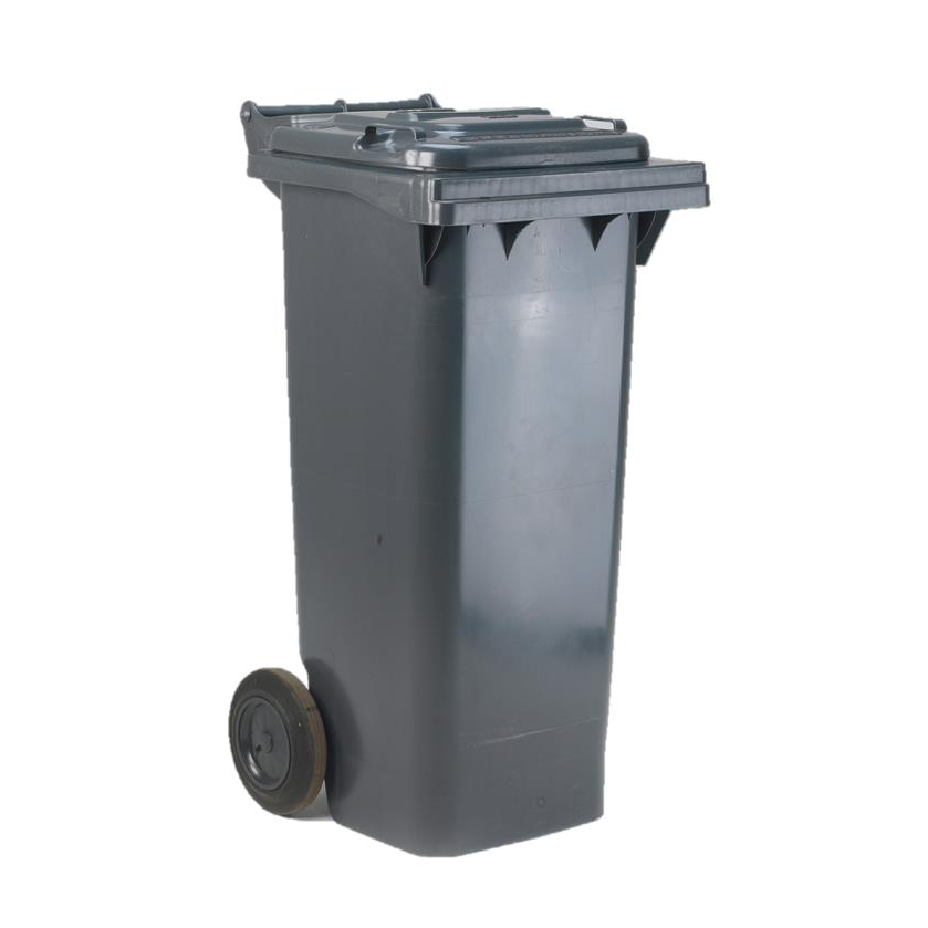 Rubbish Bins Wheelie Bin High Density Polyethylene with Rear Wheels 80 Litre Capacity 445x525x930mm Grey