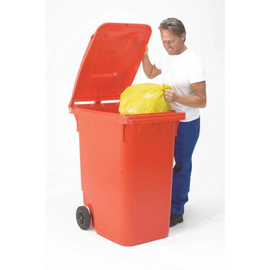 Wheelie Bin High Density Polyethylene with Rear Wheels 80 Litre Capacity 445x525x930mm Red