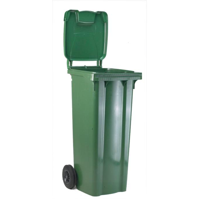 Rubbish Bins Wheelie Bin High Density Polyethylene with Rear Wheels 80 Litre Capacity 445x525x930mm Green