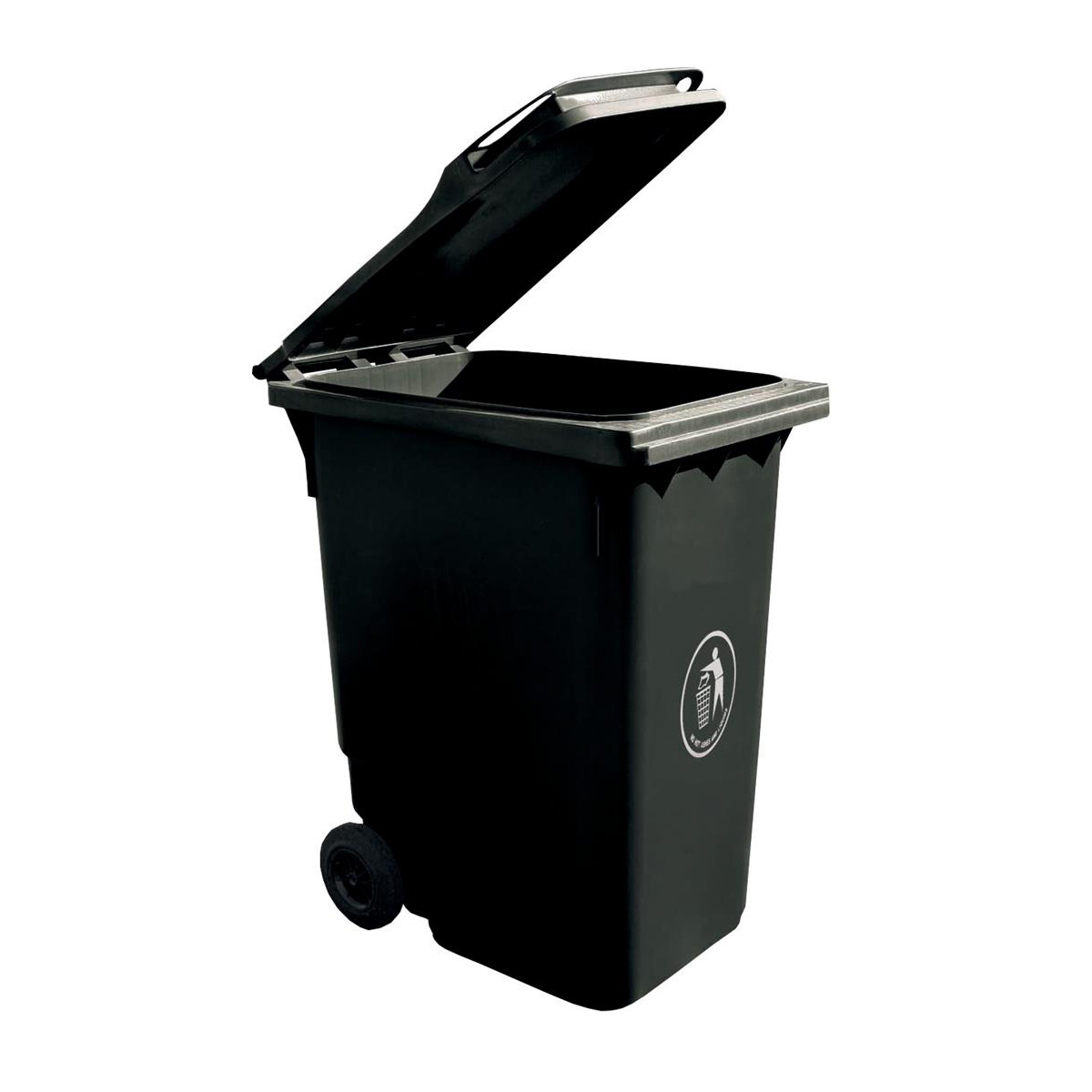 Wheelie Bin High Density Polyethylene with Rear Wheels 240 Litre Capacity 580x740x1070mm Grey