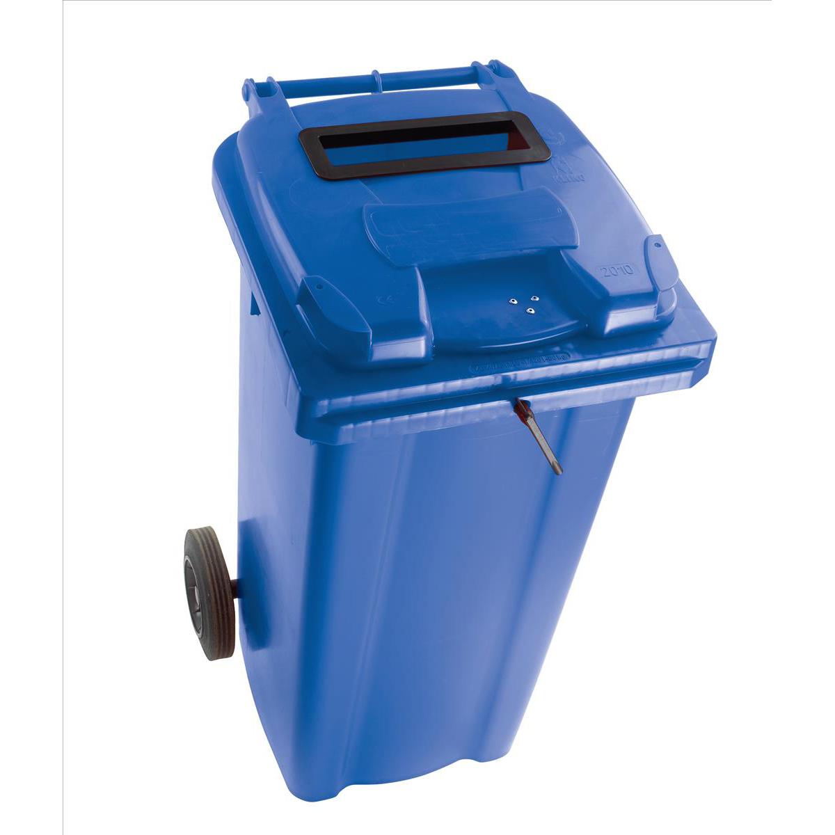 Wheeled Bin UV Stabilised Polyethylene with Rear Wheels Lid Lock 120 Litre Capacity 480x555x930mm Blue