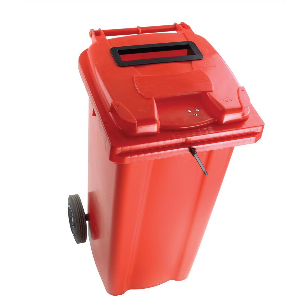 Wheeled Bin UV Stabilised Polyethylene with Rear Wheels Lid Lock 120 Litre Capacity 480x555x930mm Red