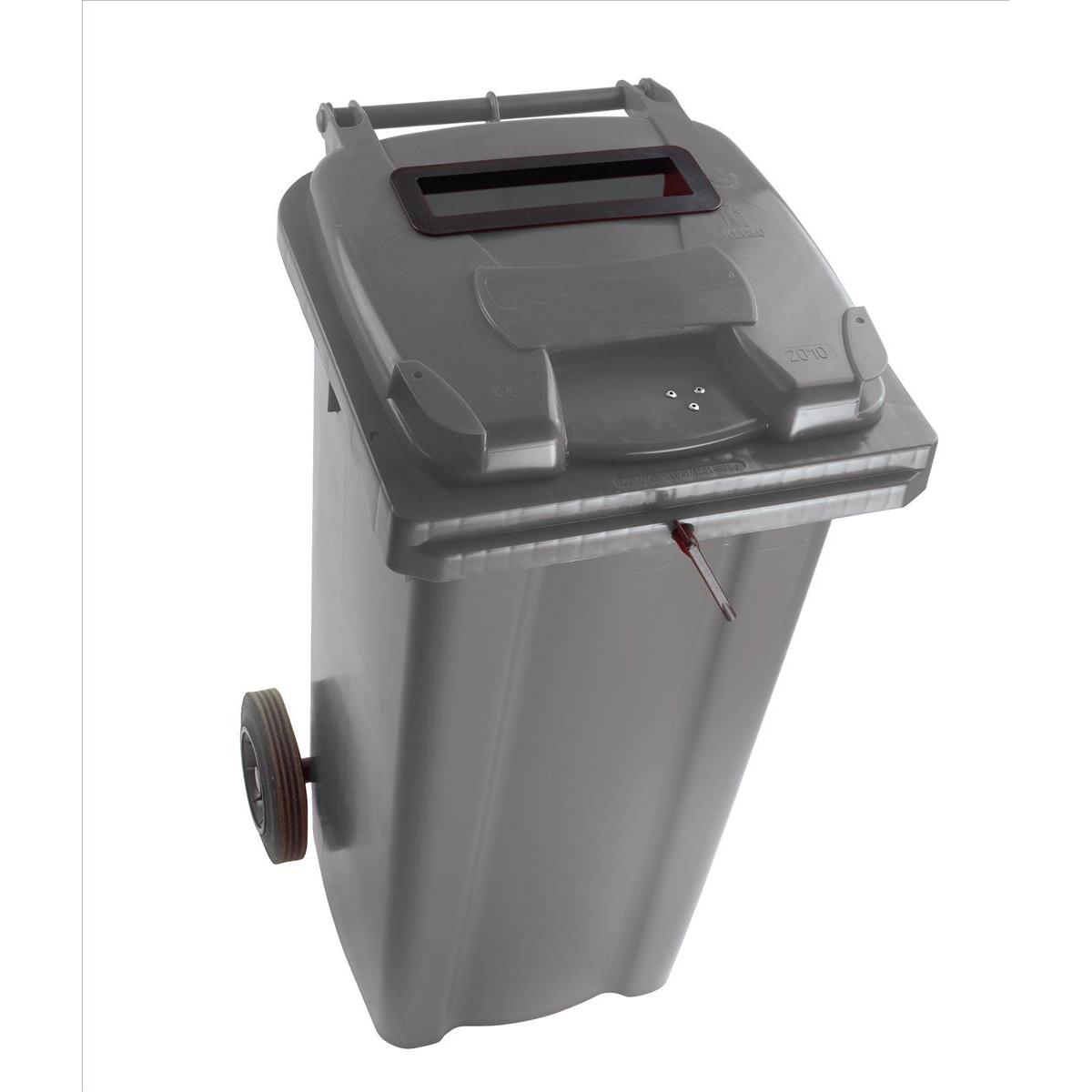 Wheeled Bin UV Stabilised Polyethylene with Rear Wheels Lid Lock 140 Litre Capacity 480x555x1070mm Grey