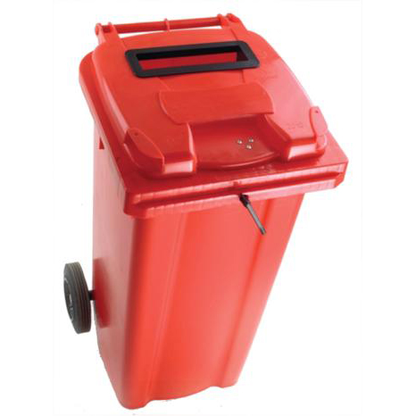Rubbish Bins Wheeled Bin UV Stabilised Polyethylene with Rear Wheels Lid Lock 140 Litre Capacity 480x555x1070mm Red
